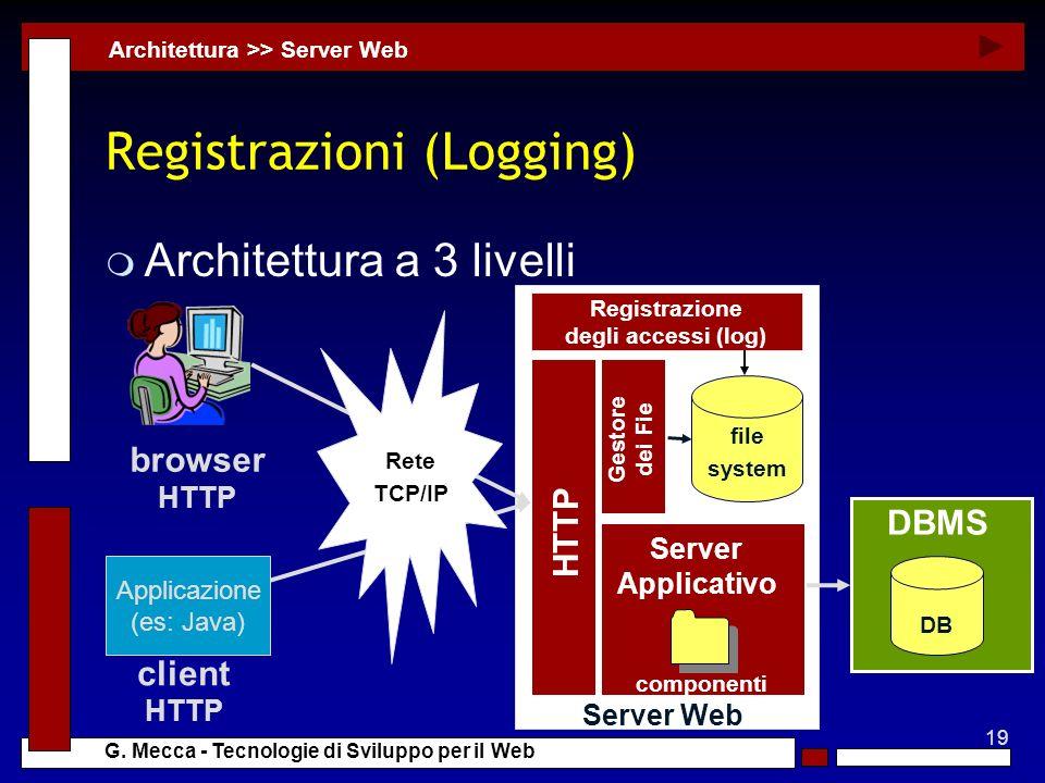 19 G. Mecca - Tecnologie di Sviluppo per il Web Server Web Registrazioni (Logging) m Architettura a 3 livelli Architettura >> Server Web DB DBMS HTTP