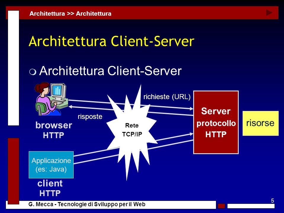5 G. Mecca - Tecnologie di Sviluppo per il Web Architettura Client-Server m Architettura Client-Server Architettura >> Architettura Server protocollo