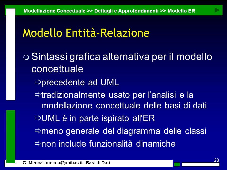 28 G. Mecca - mecca@unibas.it - Basi di Dati Modello Entità-Relazione m Sintassi grafica alternativa per il modello concettuale precedente ad UML trad