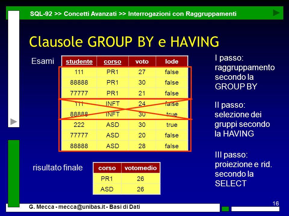16 G. Mecca - mecca@unibas.it - Basi di Dati Clausole GROUP BY e HAVING SQL-92 >> Concetti Avanzati >> Interrogazioni con Raggruppamenti corsovotomedi