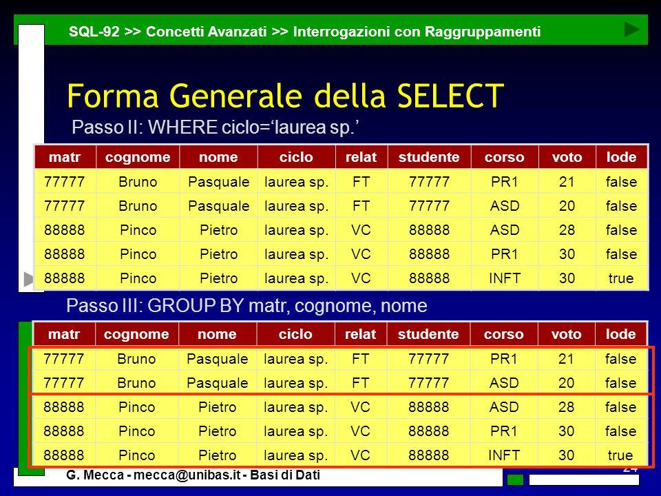 24 G. Mecca - mecca@unibas.it - Basi di Dati Forma Generale della SELECT SQL-92 >> Concetti Avanzati >> Interrogazioni con Raggruppamenti matrcognomen