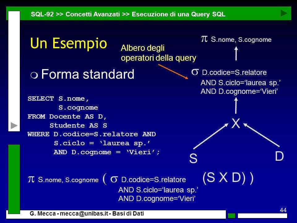 44 G. Mecca - mecca@unibas.it - Basi di Dati Un Esempio m Forma standard SQL-92 >> Concetti Avanzati >> Esecuzione di una Query SQL SELECT S.nome, S.c