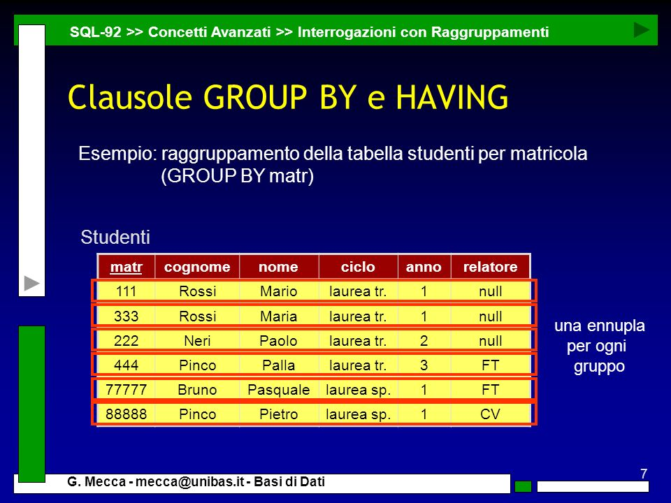 7 G. Mecca - mecca@unibas.it - Basi di Dati Clausole GROUP BY e HAVING SQL-92 >> Concetti Avanzati >> Interrogazioni con Raggruppamenti matrcognomenom