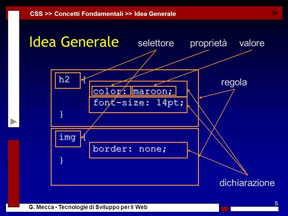 5 G. Mecca - Tecnologie di Sviluppo per il Web Idea Generale CSS >> Concetti Fondamentali >> Idea Generale h2 { color: maroon; color: maroon; font-siz