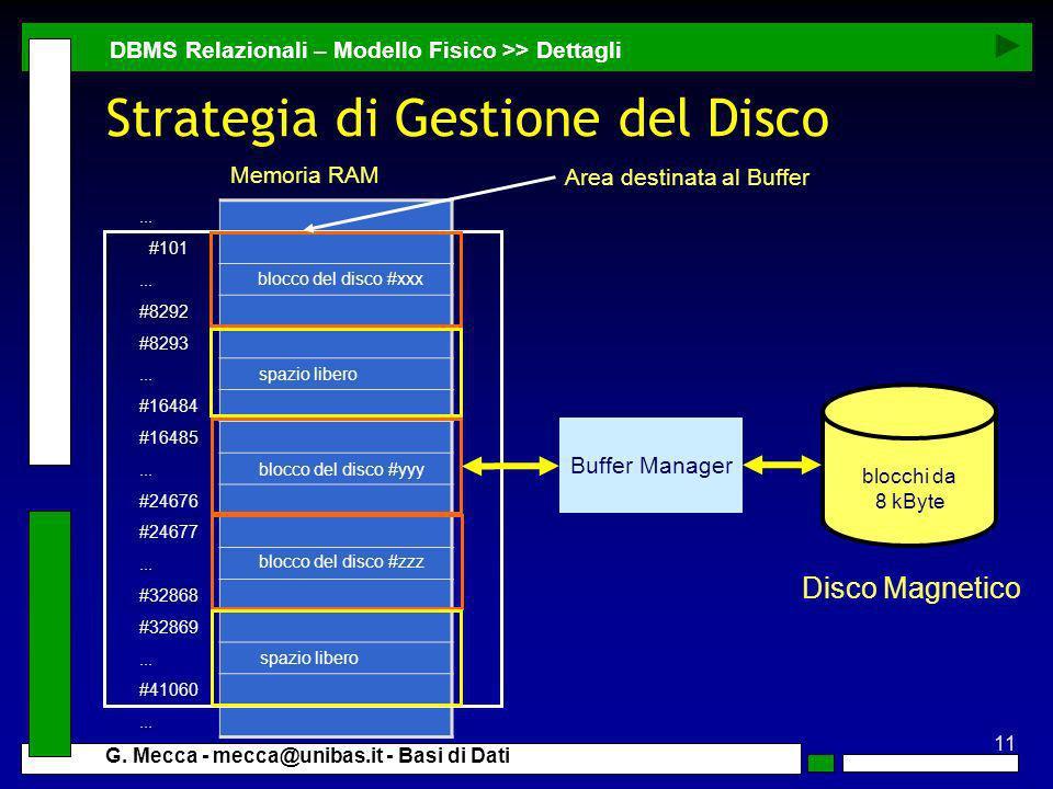 11 G. Mecca - mecca@unibas.it - Basi di Dati Strategia di Gestione del Disco DBMS Relazionali – Modello Fisico >> Dettagli Disco Magnetico... #101...