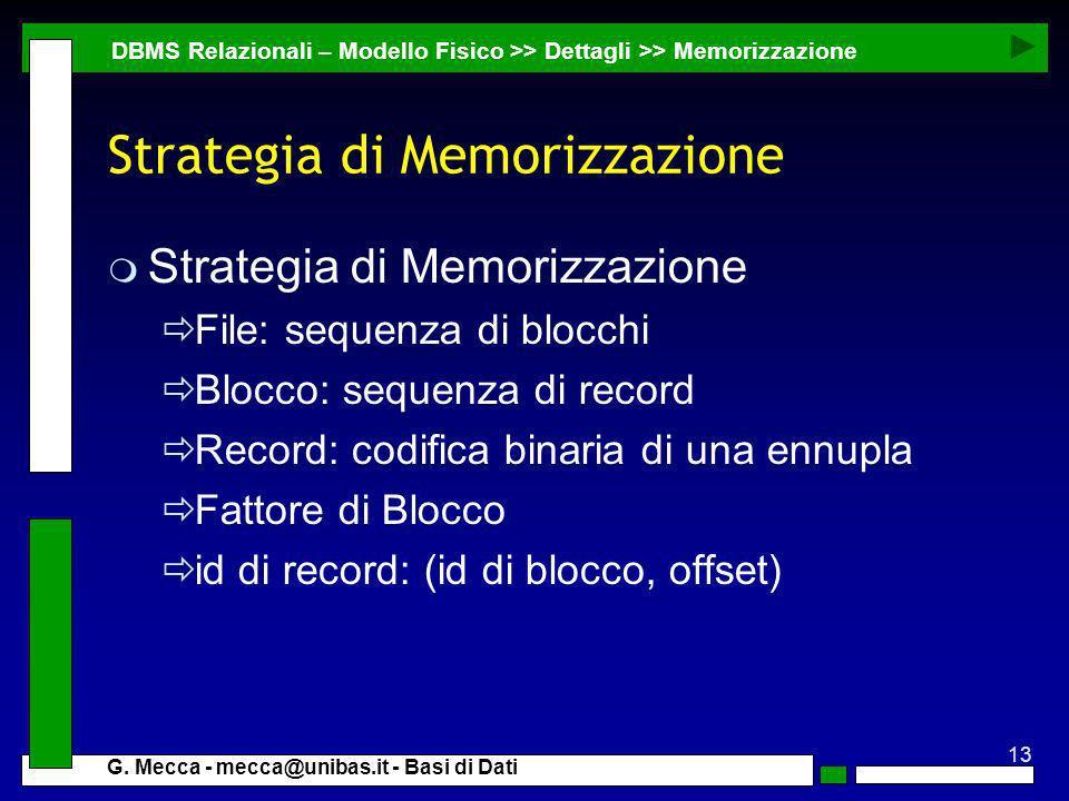 13 G. Mecca - mecca@unibas.it - Basi di Dati Strategia di Memorizzazione m Strategia di Memorizzazione File: sequenza di blocchi Blocco: sequenza di r