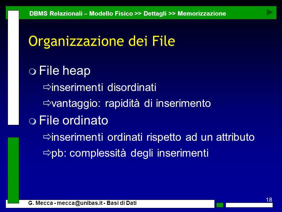 18 G. Mecca - mecca@unibas.it - Basi di Dati Organizzazione dei File DBMS Relazionali – Modello Fisico >> Dettagli >> Memorizzazione m File heap inser