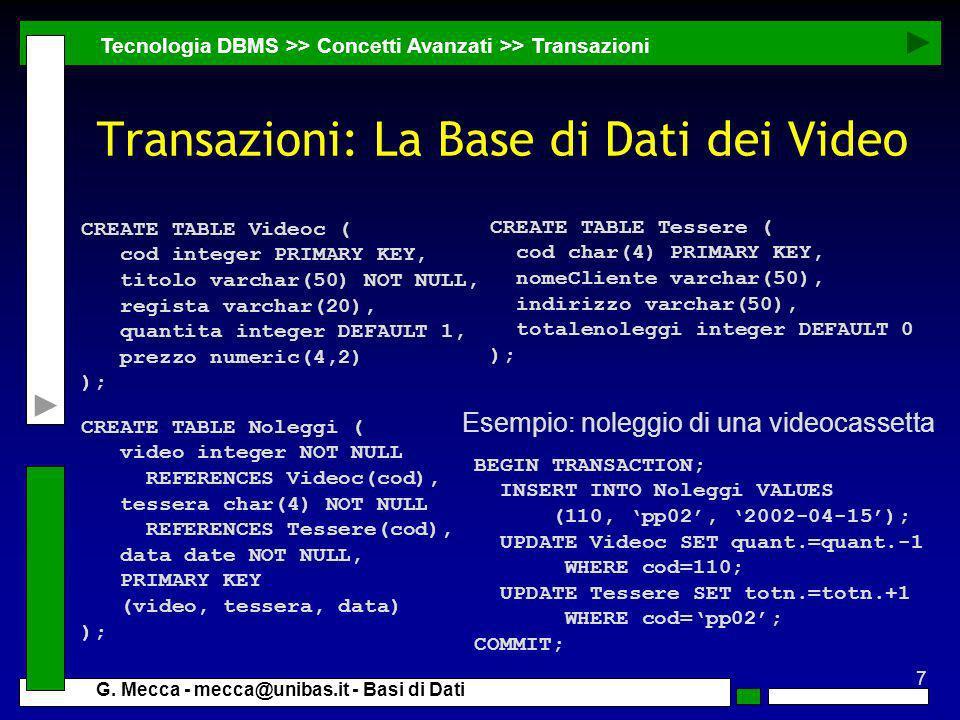 7 G. Mecca - mecca@unibas.it - Basi di Dati Transazioni: La Base di Dati dei Video Tecnologia DBMS >> Concetti Avanzati >> Transazioni CREATE TABLE Vi