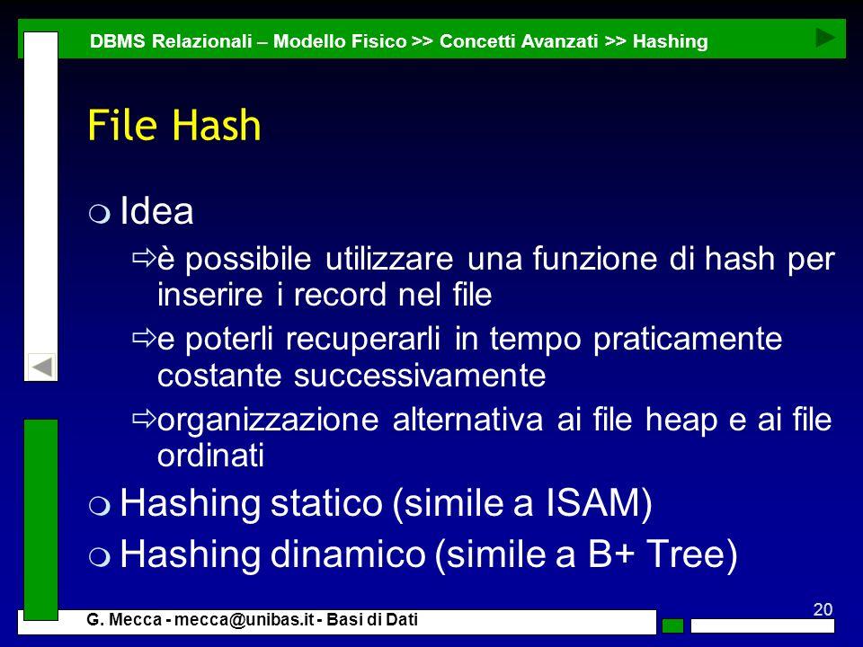 20 G. Mecca - mecca@unibas.it - Basi di Dati File Hash m Idea è possibile utilizzare una funzione di hash per inserire i record nel file e poterli rec
