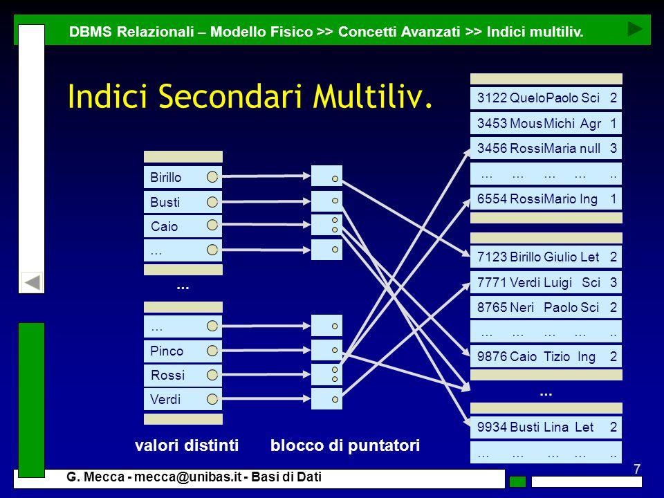 7 G. Mecca - mecca@unibas.it - Basi di Dati Indici Secondari Multiliv. DBMS Relazionali – Modello Fisico >> Concetti Avanzati >> Indici multiliv. 6554