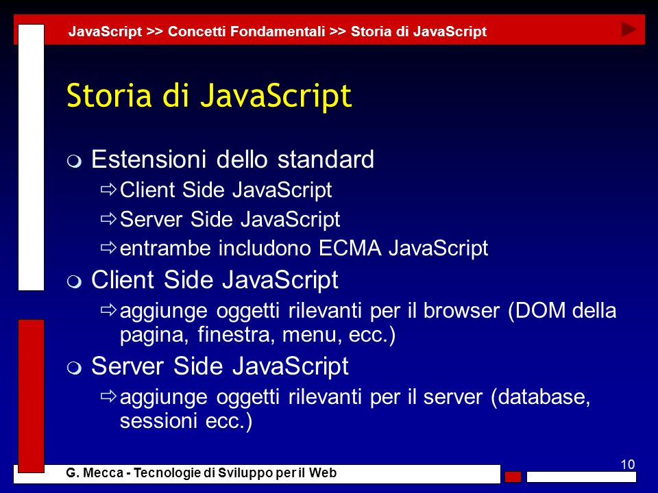 10 G. Mecca - Tecnologie di Sviluppo per il Web Storia di JavaScript m Estensioni dello standard Client Side JavaScript Server Side JavaScript entramb