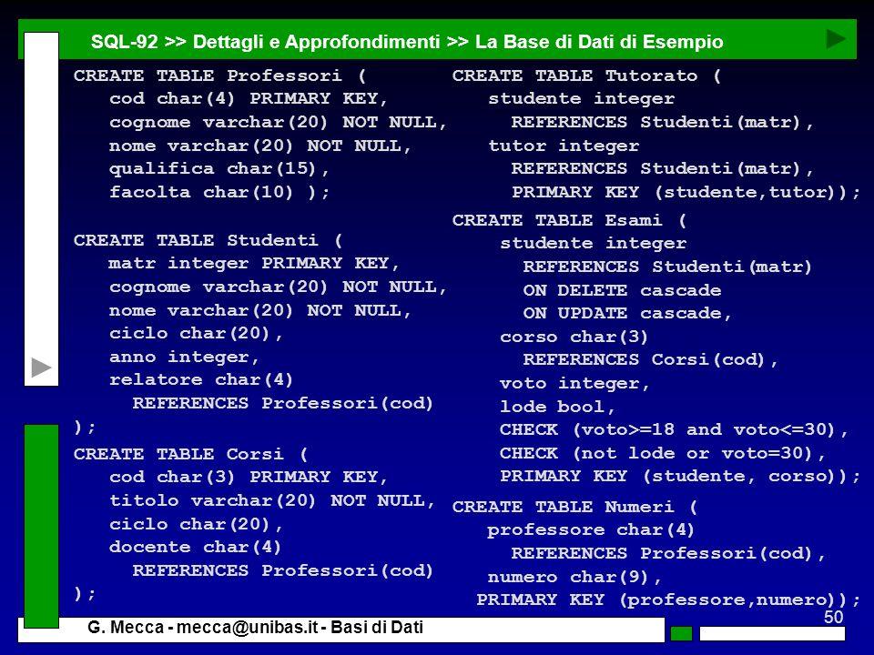 50 G. Mecca - mecca@unibas.it - Basi di Dati SQL-92 >> Dettagli e Approfondimenti >> La Base di Dati di Esempio CREATE TABLE Studenti ( matr integer P