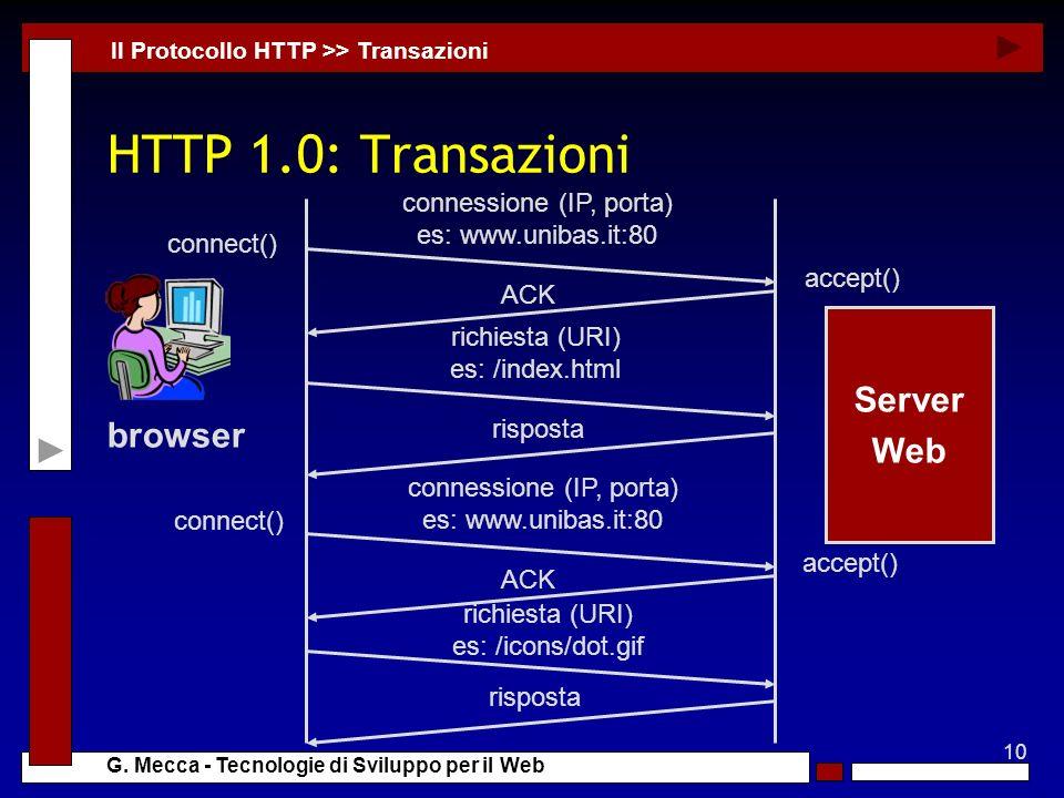 10 G. Mecca - Tecnologie di Sviluppo per il Web HTTP 1.0: Transazioni Il Protocollo HTTP >> Transazioni Server Web browser connessione (IP, porta) es:
