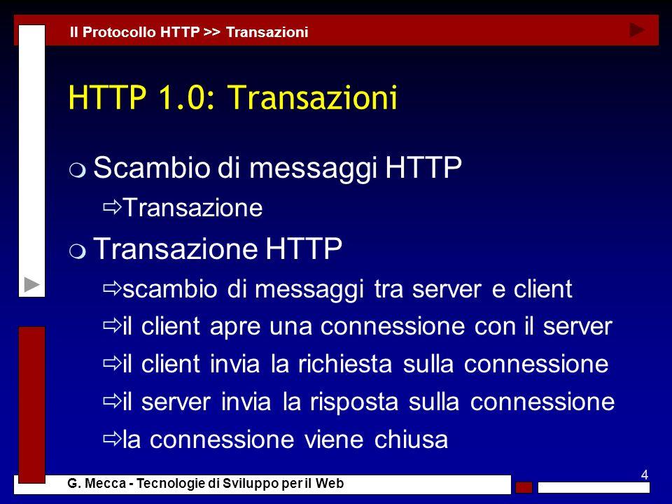 4 G. Mecca - Tecnologie di Sviluppo per il Web HTTP 1.0: Transazioni m Scambio di messaggi HTTP Transazione m Transazione HTTP scambio di messaggi tra