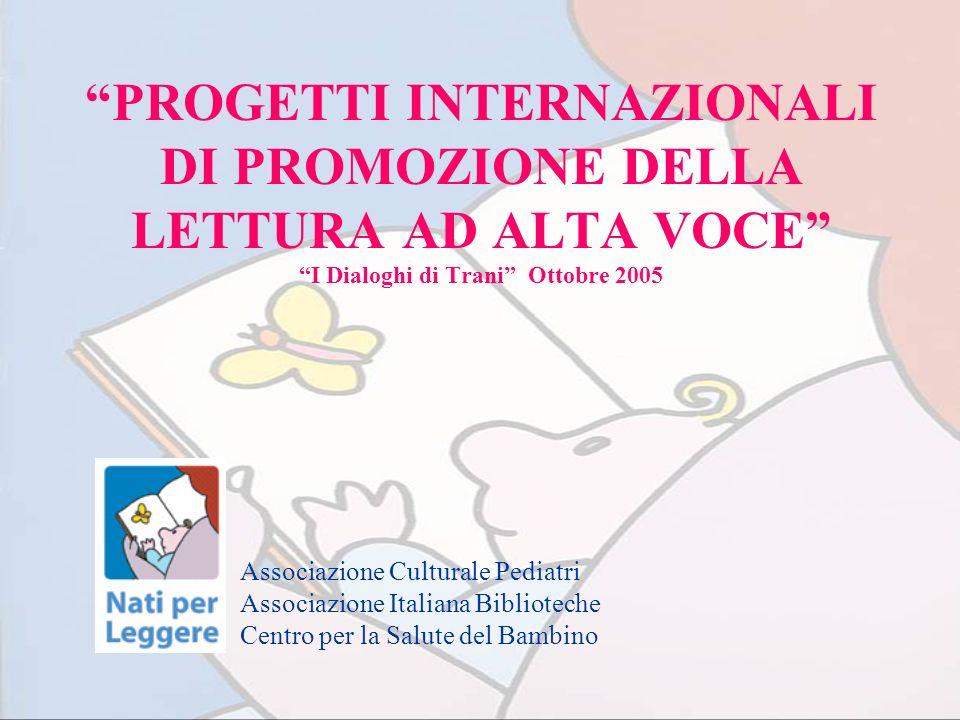 Progetti internazionali di promozione della lettura U.S.A: Born to read www.ala.org/alsc/born.html Reach out and read www.reachoutandread.org UK: Bookstart www.bookstart.co.uk www.bookstart.co.uk ITALIA: Nati per Leggere www.nati perleggere.itwww.nati ESP: Nascuts per llegir www.diba.es/biblioteques/treballenxarxa/quefem/xarxabiblioteques/projecte-nascutsxllegir.asp