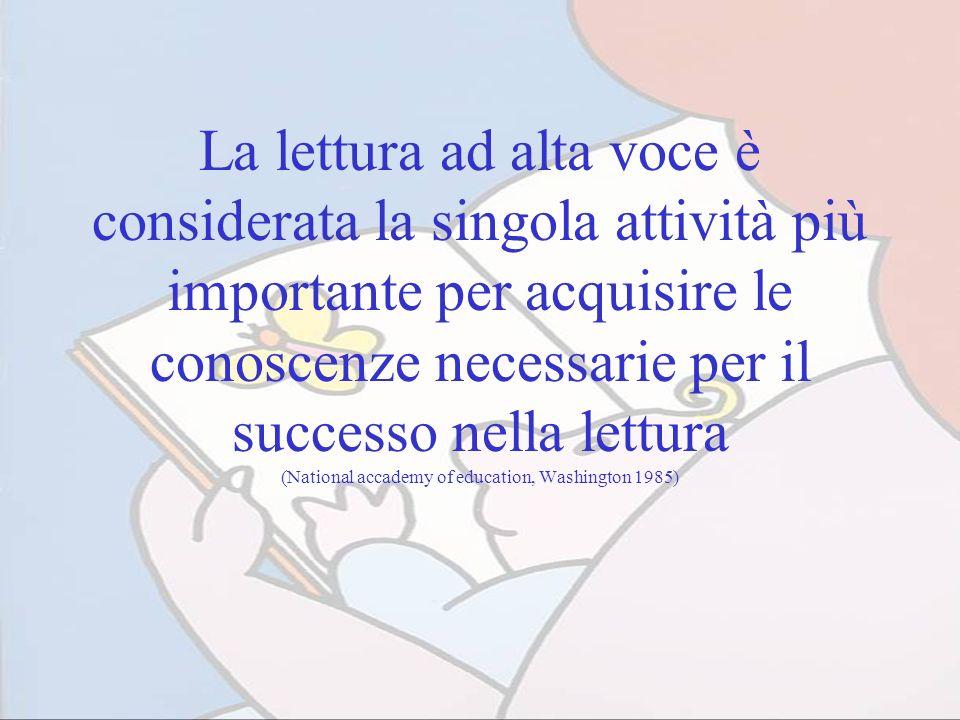 La lettura ad alta voce è considerata la singola attività più importante per acquisire le conoscenze necessarie per il successo nella lettura (Nationa