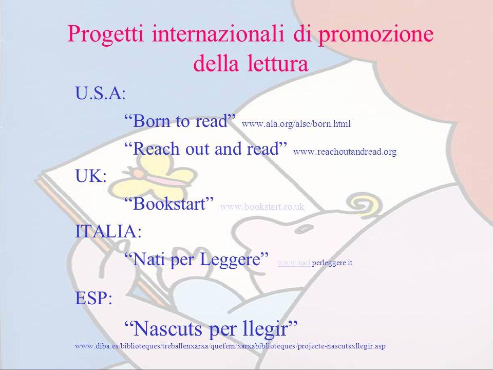 Progetti internazionali di promozione della lettura U.S.A: Born to read www.ala.org/alsc/born.html Reach out and read www.reachoutandread.org UK: Book