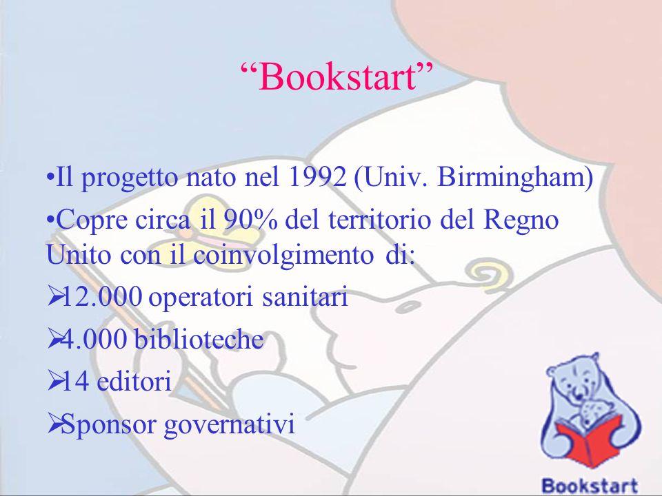 Bookstart Il progetto nato nel 1992 (Univ. Birmingham) Copre circa il 90% del territorio del Regno Unito con il coinvolgimento di: 12.000 operatori sa