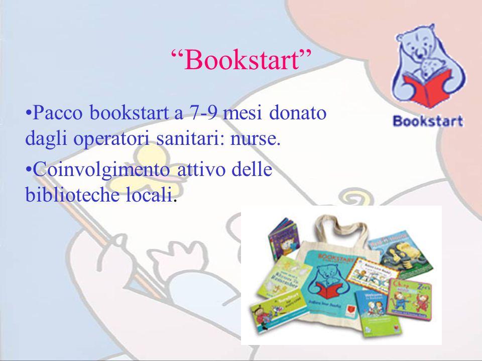 Bookstart Pacco bookstart a 7-9 mesi donato dagli operatori sanitari: nurse. Coinvolgimento attivo delle biblioteche locali.