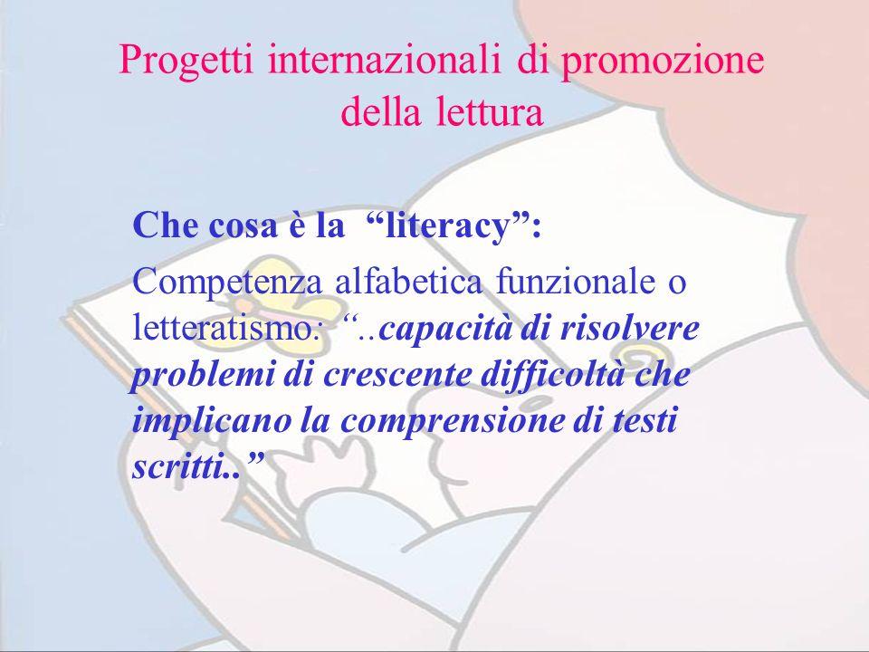 Progetti internazionali di promozione della lettura Che cosa è la literacy: Competenza alfabetica funzionale o letteratismo:..capacità di risolvere pr