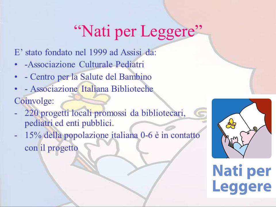 Nati per Leggere E stato fondato nel 1999 ad Assisi da: -Associazione Culturale Pediatri - Centro per la Salute del Bambino - Associazione Italiana Bi