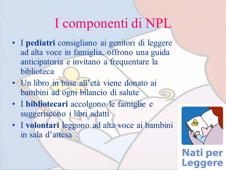I componenti di NPL I pediatri consigliano ai genitori di leggere ad alta voce in famiglia, offrono una guida anticipatoria e invitano a frequentare l