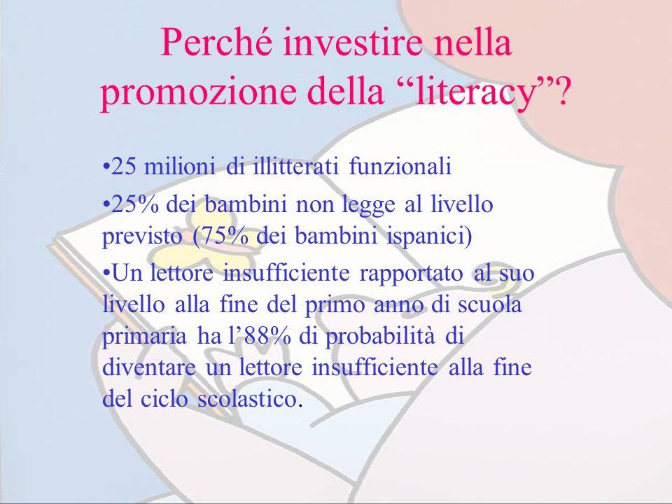 Perché investire nella promozione della literacy? 25 milioni di illitterati funzionali 25% dei bambini non legge al livello previsto (75% dei bambini