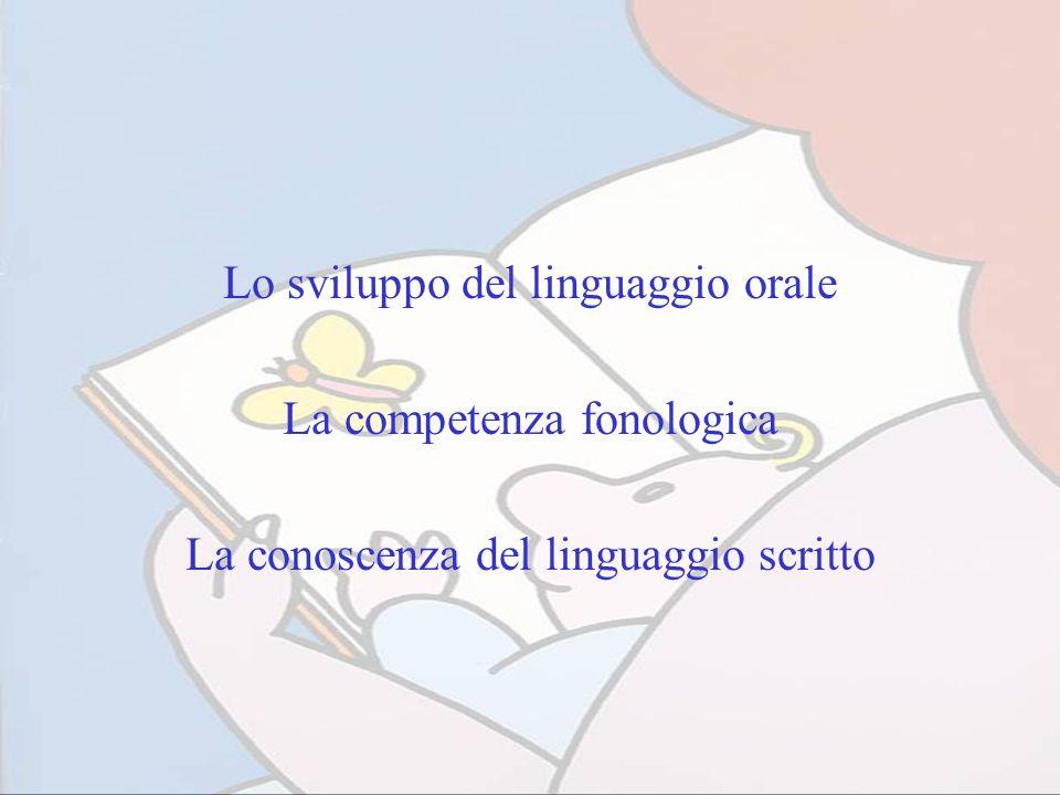 Lo sviluppo del linguaggio orale La competenza fonologica La conoscenza del linguaggio scritto