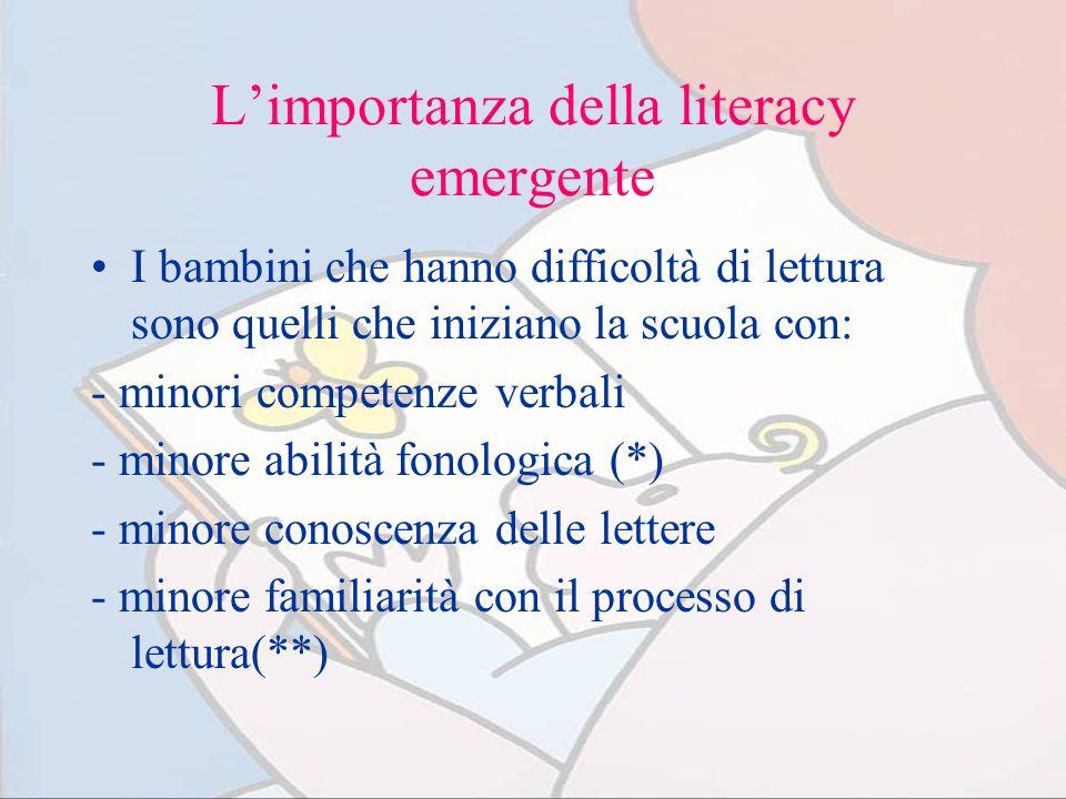 Limportanza della literacy emergente I bambini che hanno difficoltà di lettura sono quelli che iniziano la scuola con: - minori competenze verbali - m