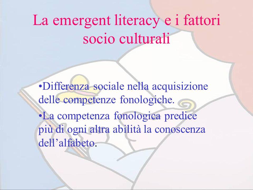 La emergent literacy e i fattori socio culturali Differenza sociale nella acquisizione delle competenze fonologiche. La competenza fonologica predice