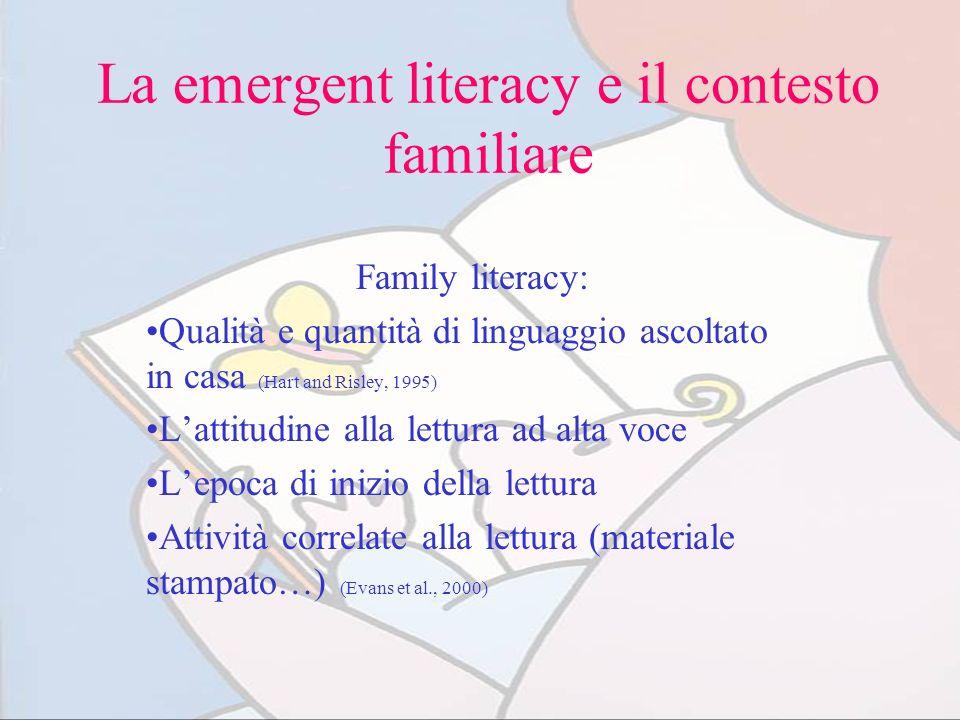 La emergent literacy e il contesto familiare Family literacy: Qualità e quantità di linguaggio ascoltato in casa (Hart and Risley, 1995) Lattitudine a