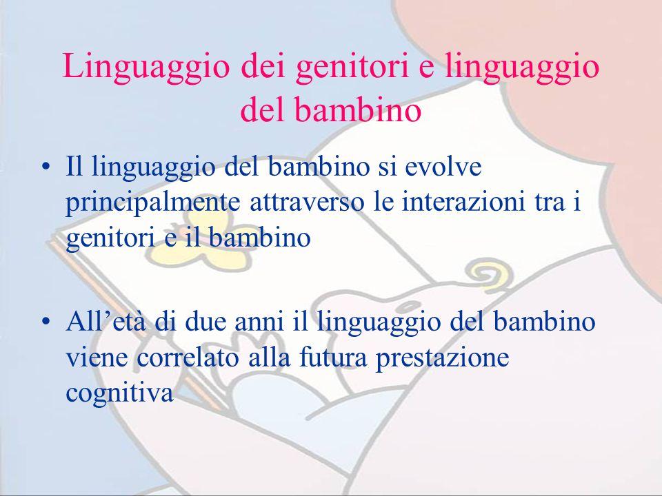 Linguaggio dei genitori e linguaggio del bambino Il linguaggio del bambino si evolve principalmente attraverso le interazioni tra i genitori e il bamb