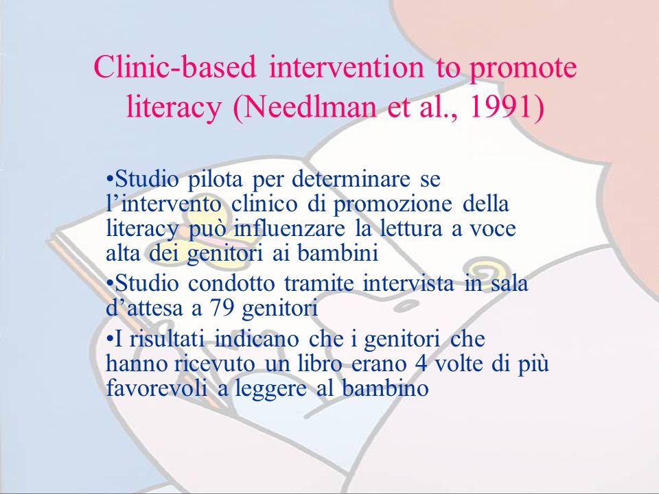 Clinic-based intervention to promote literacy (Needlman et al., 1991) Studio pilota per determinare se lintervento clinico di promozione della literac