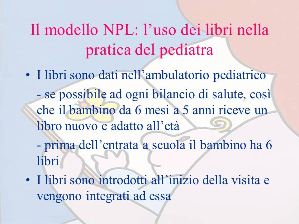 Il modello NPL: luso dei libri nella pratica del pediatra I libri sono dati nellambulatorio pediatrico - se possibile ad ogni bilancio di salute, così