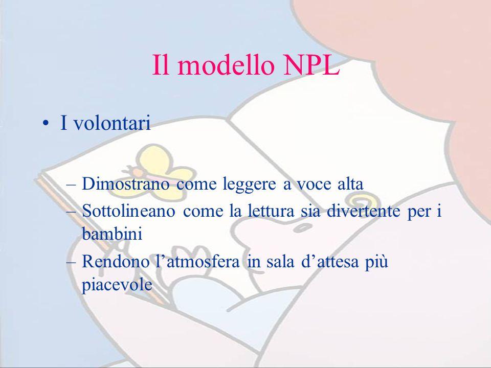 Il modello NPL I volontari –Dimostrano come leggere a voce alta –Sottolineano come la lettura sia divertente per i bambini –Rendono latmosfera in sala