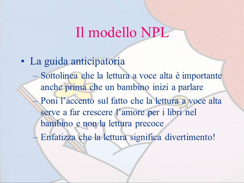 Il modello NPL La guida anticipatoria –Sottolinea che la lettura a voce alta è importante anche prima che un bambino inizi a parlare –Poni laccento su