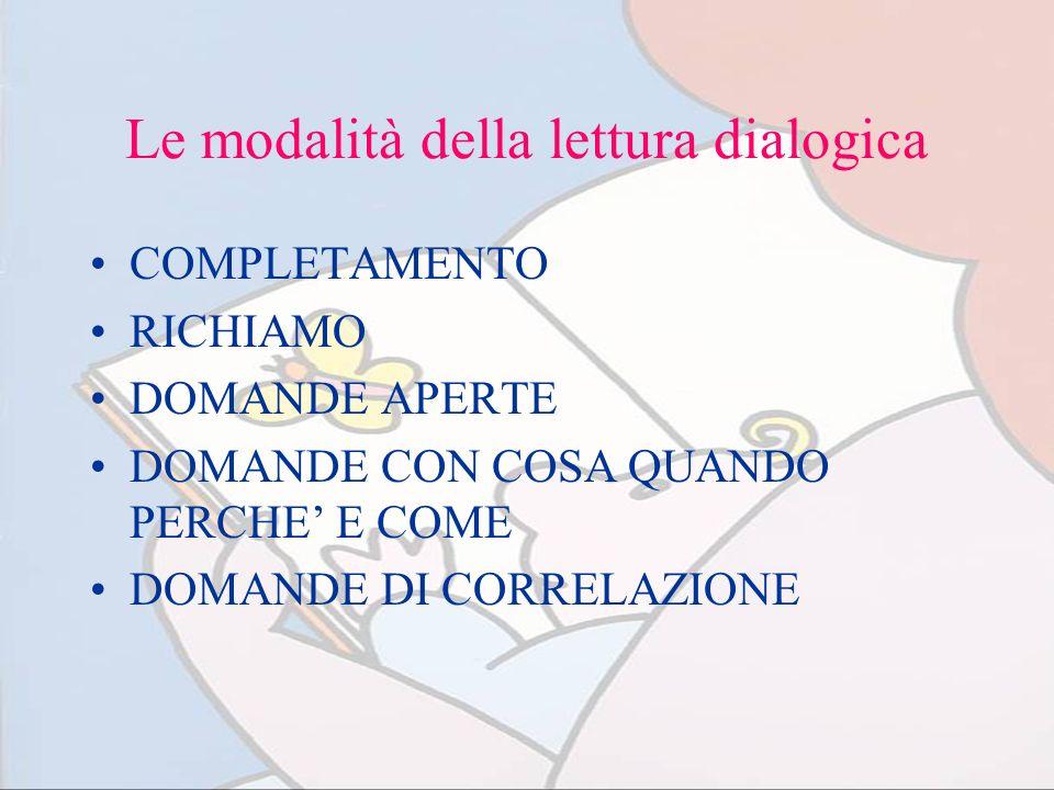 Le modalità della lettura dialogica COMPLETAMENTO RICHIAMO DOMANDE APERTE DOMANDE CON COSA QUANDO PERCHE E COME DOMANDE DI CORRELAZIONE