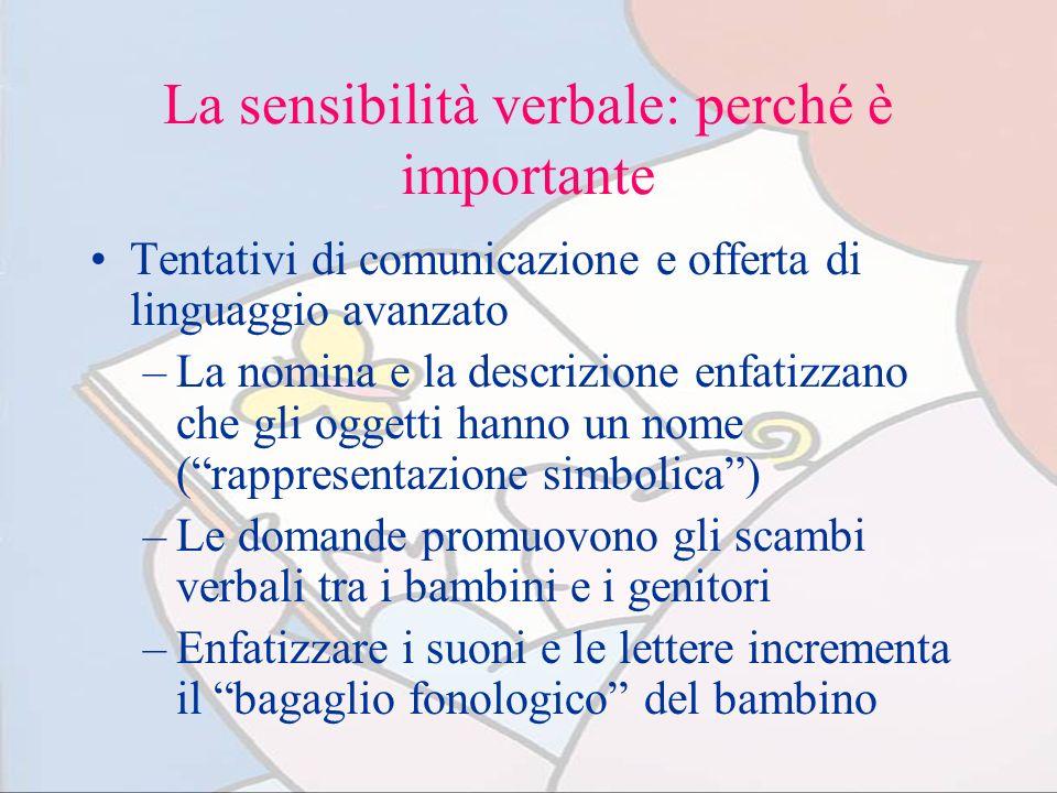La sensibilità verbale: perché è importante Tentativi di comunicazione e offerta di linguaggio avanzato –La nomina e la descrizione enfatizzano che gl