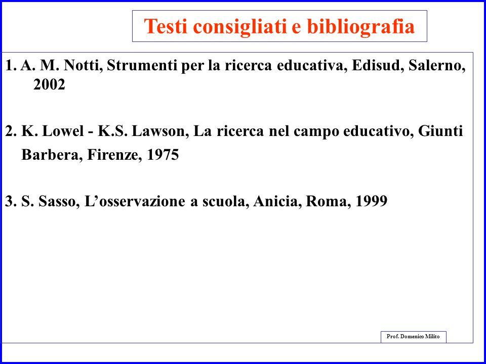 4 Prof. Domenico Milito Testi consigliati e bibliografia 1. A. M. Notti, Strumenti per la ricerca educativa, Edisud, Salerno, 2002 2. K. Lowel - K.S.