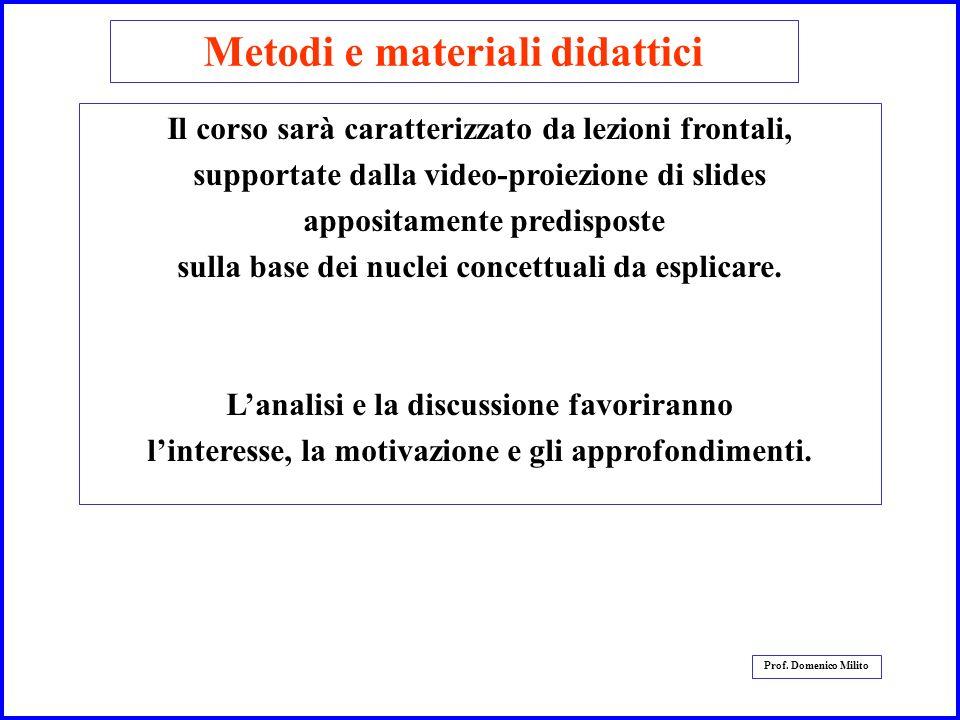 5 Prof. Domenico Milito Metodi e materiali didattici Il corso sarà caratterizzato da lezioni frontali, supportate dalla video-proiezione di slides app