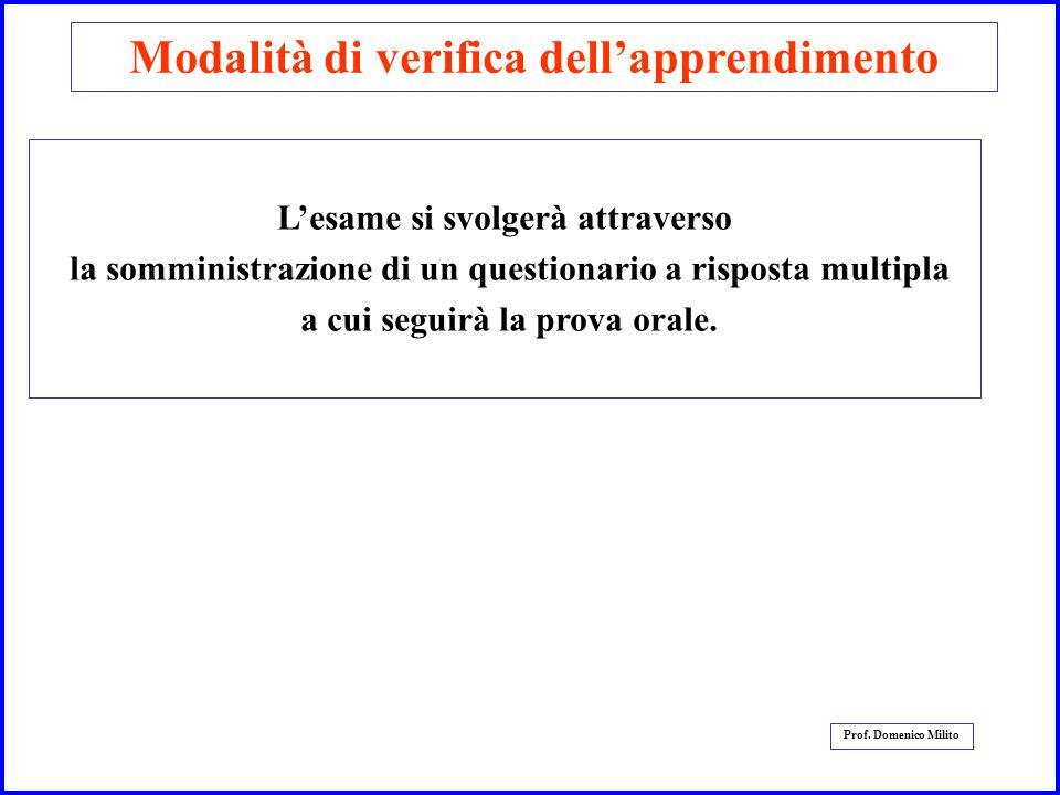 6 Prof. Domenico Milito Modalità di verifica dellapprendimento Lesame si svolgerà attraverso la somministrazione di un questionario a risposta multipl