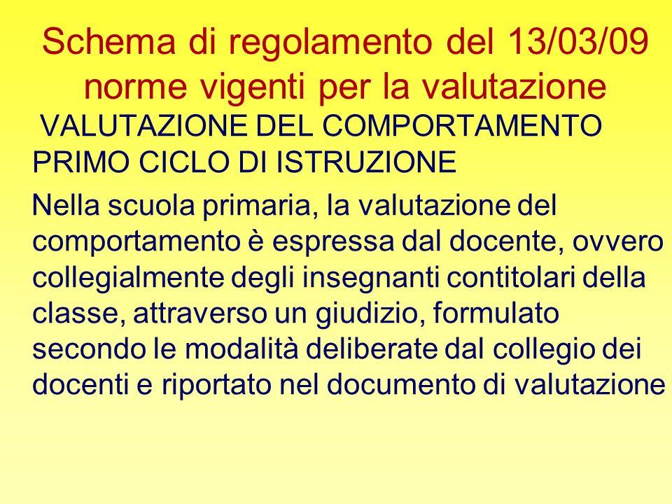 Schema di regolamento del 13/03/09 norme vigenti per la valutazione VALUTAZIONE DEL COMPORTAMENTO PRIMO CICLO DI ISTRUZIONE Nella scuola primaria, la
