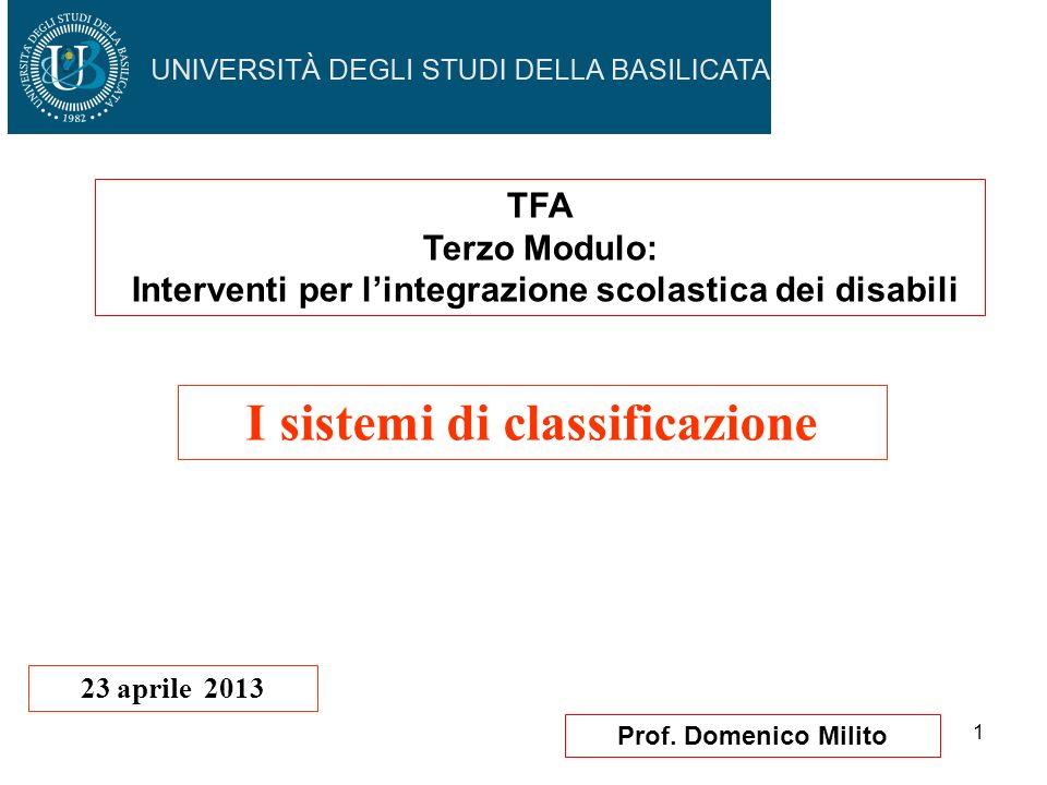 1 Prof. Domenico Milito I sistemi di classificazione 23 aprile 2013 TFA Terzo Modulo: Interventi per lintegrazione scolastica dei disabili