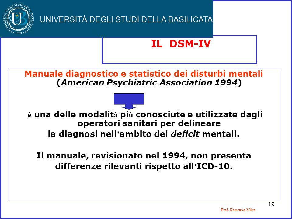 Prof. Domenico Milito IL DSM-IV Manuale diagnostico e statistico dei disturbi mentali (American Psychiatric Association 1994) è una delle modalit à pi