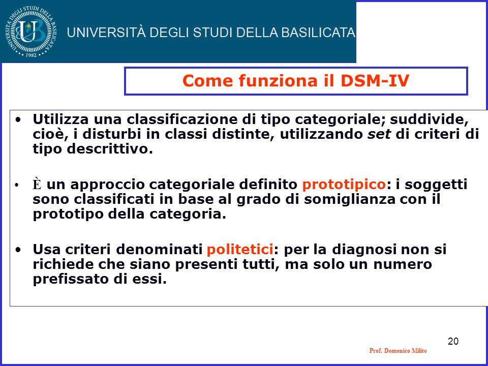 Prof. Domenico Milito Come funziona il DSM-IV Utilizza una classificazione di tipo categoriale; suddivide, cioè, i disturbi in classi distinte, utiliz