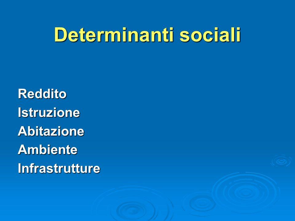 Determinanti sociali RedditoIstruzioneAbitazioneAmbienteInfrastrutture