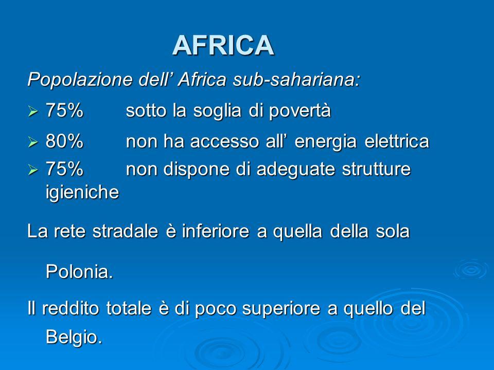 AFRICA Popolazione dell Africa sub-sahariana: 75%sotto la soglia di povertà 75%sotto la soglia di povertà 80%non ha accesso all energia elettrica 80%n