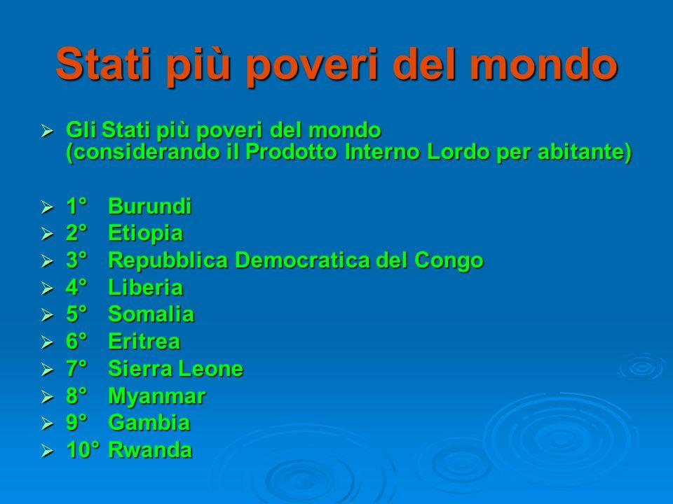 Stati più poveri del mondo Gli Stati più poveri del mondo (considerando il Prodotto Interno Lordo per abitante) Gli Stati più poveri del mondo (consid