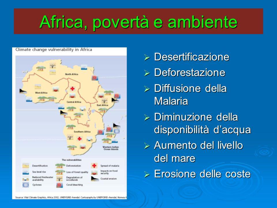 Africa, povertà e ambiente Desertificazione Desertificazione Deforestazione Deforestazione Diffusione della Malaria Diffusione della Malaria Diminuzio