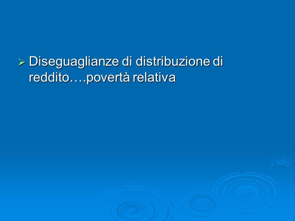 Diseguaglianze di distribuzione di reddito….povertà relativa Diseguaglianze di distribuzione di reddito….povertà relativa